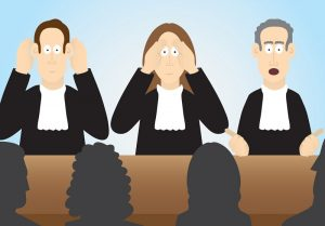afbeedling rechters horen, zien en niet zwijgen